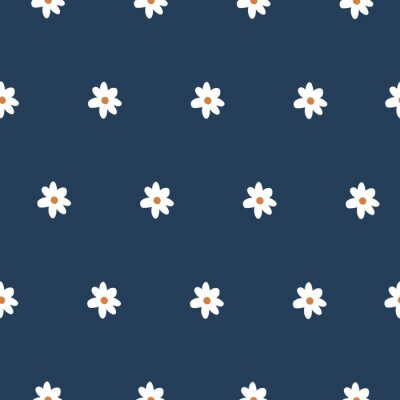 Póster Cute Repeat Daisy Wildflower Pattern with navy blue background. Seamless floral pattern. White Daisy. Stylish repeating texture. Repeating texture.