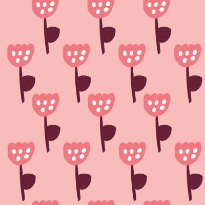 Póster Cute Repeat Tulip Wildflower Pattern with light pink background. Seamless floral pattern. pink tulip. Stylish repeating texture. Repeating texture.