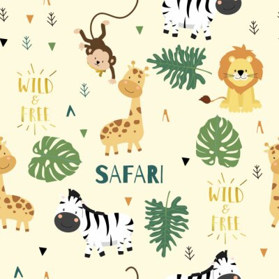 Póster Cute safari background with giraffe,zebra,lion,monkey,leaves.Vector illustration seamless pattern for background,wallpaper,frabic.include wording wild and free.Editable element