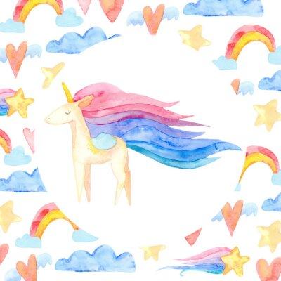 Póster Cute unicorn horse. Fairytale children sweet dream. Rainbow animal horn character. Frame border ornament square. Aquarelle wild animal,  rainbow, heart, stars, clouds
