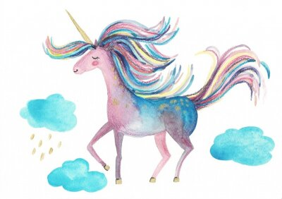 Póster Cute unicorn on a white background for design