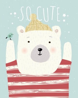 Póster Cute wall interior poster, card or picture for the children's room. Vector drawn illustration of an animal bear with a bird.