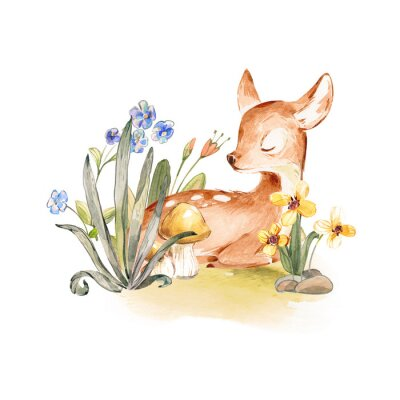 Póster Cute Watercolor Baby Deer with the blue ribbon surrounded by wild flowers and mushrooms over white. Baby Deer sleeping in the forest. Isolated. Nursery print for baby girl oa boy.