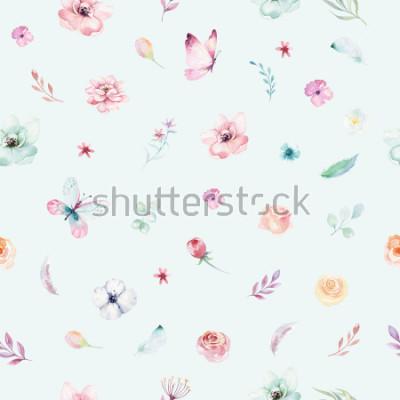 Póster Cute watercolor unicorn seamless pattern with flowers. Nursery magical unicorn patterns. Princess rainbow texture. Trendy pink cartoon pony horse.