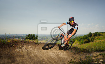 cyclist rides in the mountains