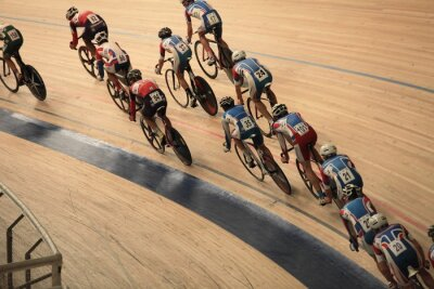 Póster cyclists to ride fast in a curve  top view