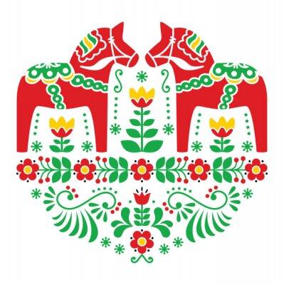 Póster Dala del sueco o folk patrón floral caballo Daleclarian