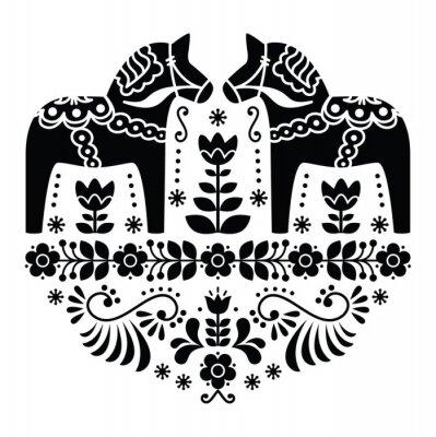 Póster Dala del sueco o patrón popular caballo Daleclarian en negro