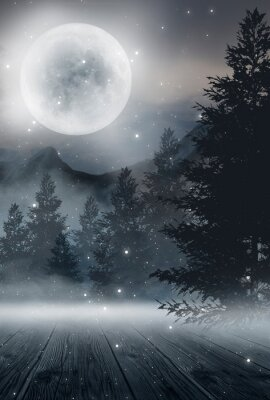 Póster  Dark abstract winter forest background. Wooden floor, snow, fog. Dark night background in the forest with moonlight. Night view, magic