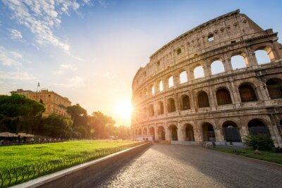 Póster Das Kolosseum en Roma Italia en Sonnenuntergang