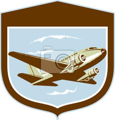 DC10 Propeller Airplane Flying Shield Retro