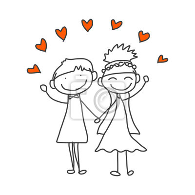 Póster de dibujos animados de dibujo a mano feliz pareja