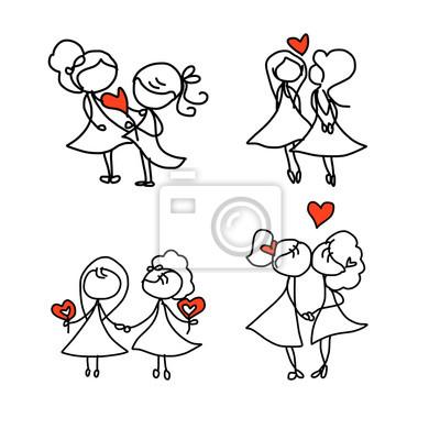 De Dibujos Animados De Dibujo A Mano Feliz Pareja De Novios Carteles