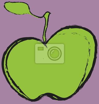 De Dibujos Animados De Manzana Verde Carteles Para La Pared