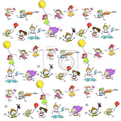 De Dibujos Animados Dibujo De La Mano Niños Felices Jugando Carteles
