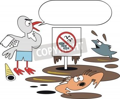 De Dibujos Animados La Contaminación Por Petróleo Carteles Para La