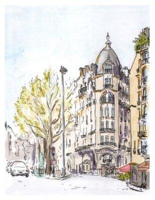 Póster Dé el bosquejo color pintado de la calle de París