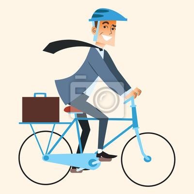 De negocios que va a trabajar en la oficina en bicicleta
