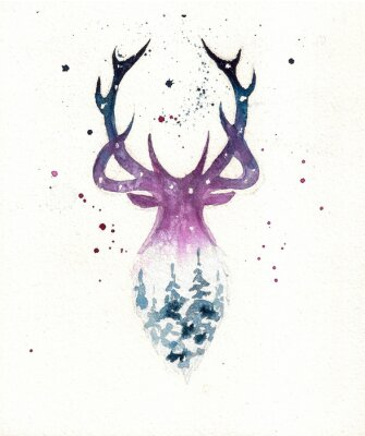 Póster Deers christmas illustration of watercolor. Greeting card.