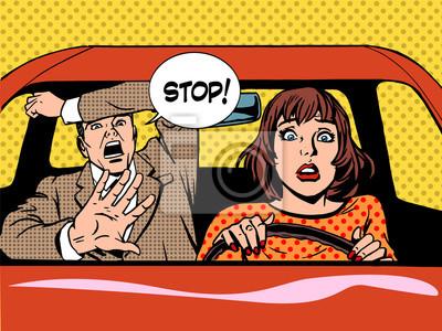 dejar de mujer driver driving pánico escuela calma