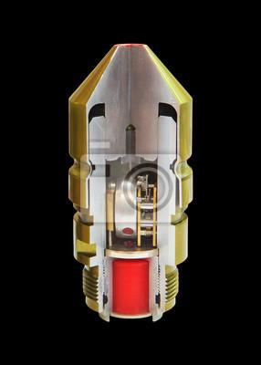 dentro de bala basculada con bombardero máquina explosiva
