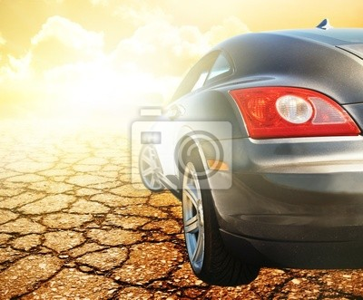 Deporte automóvil refleja en el desierto