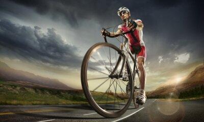 Póster Deporte. Ciclista del camino.