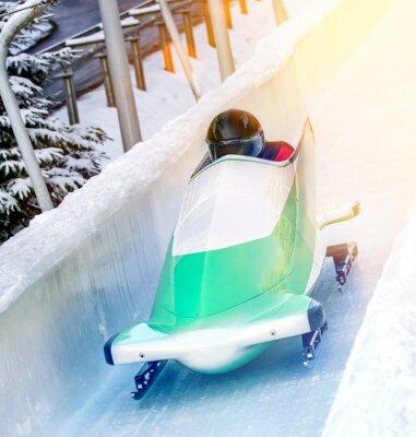 Póster Deportes de invierno - Bobsleigh en la pista