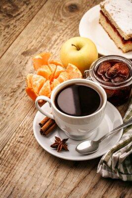 Póster Desayuno con café y frutas