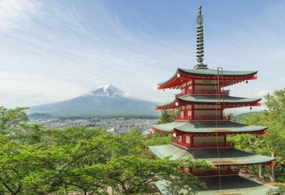 Póster Destino del viaje - Mt. Fuji con la pagoda roja en la primavera, Fujiyos