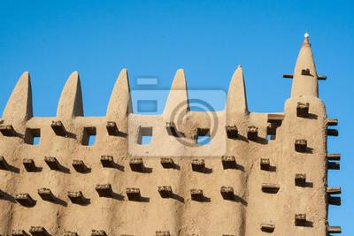 Detalle de la Gran Mezquita de Djenné, Malí, África.