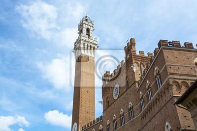 Detalle de la Torre del Mangia y Piazza del Campo, Siena, Tusc