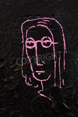 Póster Detalle de un famoso muro de Lennon en Praga
