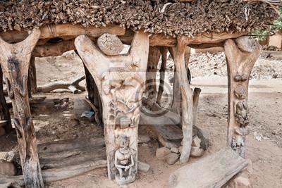 Detalles de Toguna en una aldea de Dogon, Mali, África.