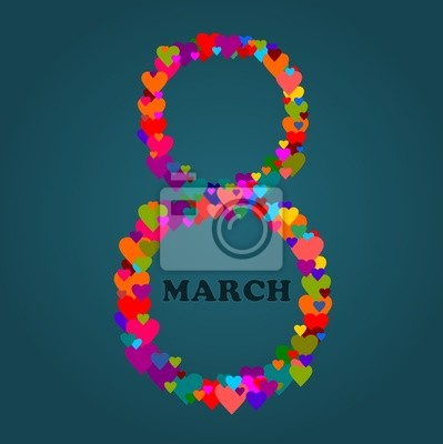 Día 08 de marzo Internacional de la Mujer - Ilustración con corazones
