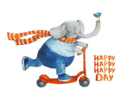 Póster Día feliz. Ilustración de acuarela y gouache