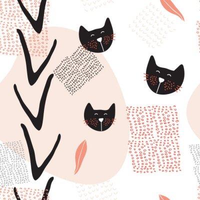 Póster Dibujado a mano abstracta patrón de fondo transparente con gatos lindos