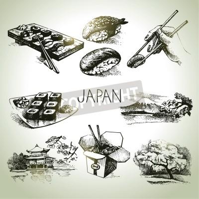 Póster Dibujado a mano conjunto japonesa del vintage