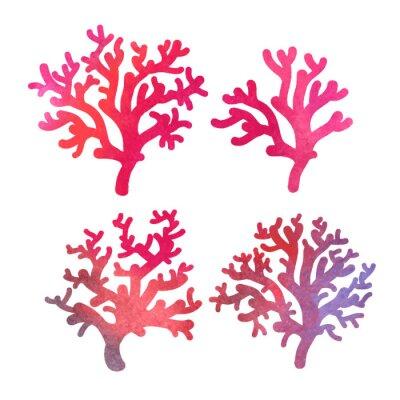 Póster dibujado a mano coral decorativo acuarela