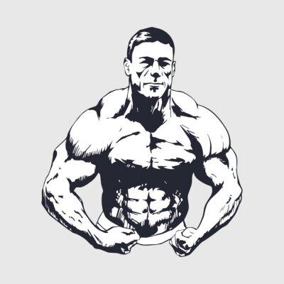 Póster Dibujado a mano hombre musculoso - Bodybuilder