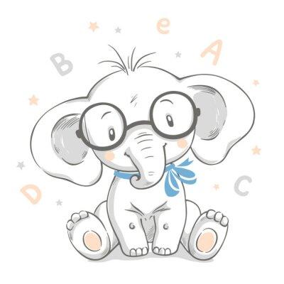 Póster Dibujado a mano ilustración vectorial de un lindo bebé elefante en vasos grandes.