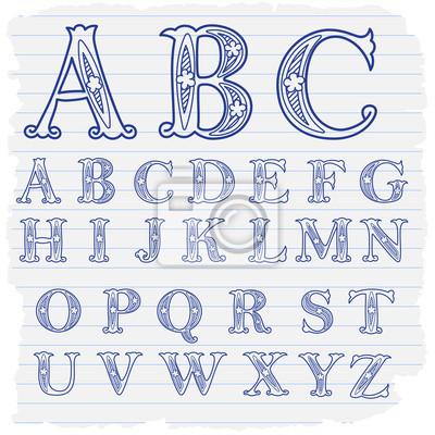 pster dibujado a mano letras decorativas del alfabeto ingls - Letras Decorativas
