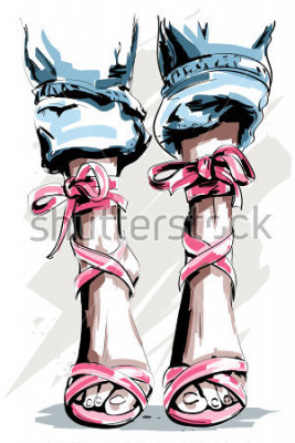 Póster Dibujado a mano lindo piernas en los zapatos. Bonitos zapatos de verano. Accesorios de moda. Bosquejo. Ilustracion vectorial