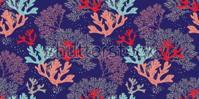 Póster Dibujado a mano patrón de vectores sin virus. Patrón de moda con corales y algas sobre fondo azul para impresión, tela, textil, fabricación, papeles pintados. Fondo del mar.