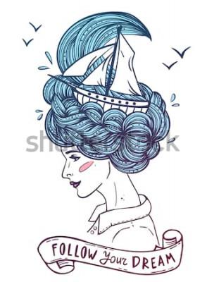 Póster Dibujado a mano retrato en color de una mujer joven y bella soñando con barco en ondas de pelo rizado como el mar. Tatuaje, zentangle, moda, marino, postal, cinta vintage con el texto