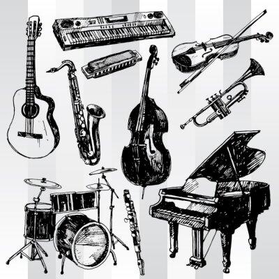 Póster Dibujado Música Instrumentos Mano