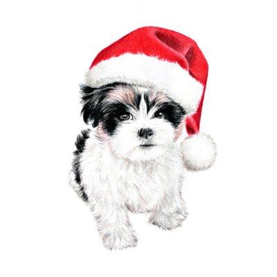 Póster dibujados a mano de cachorro de perro con sombrero de Santa Claus, diversión clipart lindo Tarjeta de Navidad, dibujo del perro es de color dibujo a lápiz, día de fiesta del arte de clip ilustración a