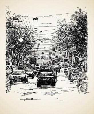 Póster dibujar a mano la línea de arte composición del tráfico de la ciudad