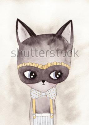 Póster dibujo acuarela gato carnaval