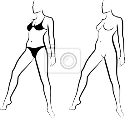 Póster Dibujo De Una Mujer Desnuda